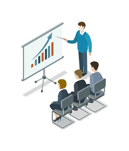 Izometryczne Ilustracja Prezentacji Biznesowych Premium Wektorów