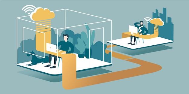 Izometryczne ilustracja wyjaśnia zasady cloud computing i pracy zdalnej w biurze przez internet. Premium Wektorów