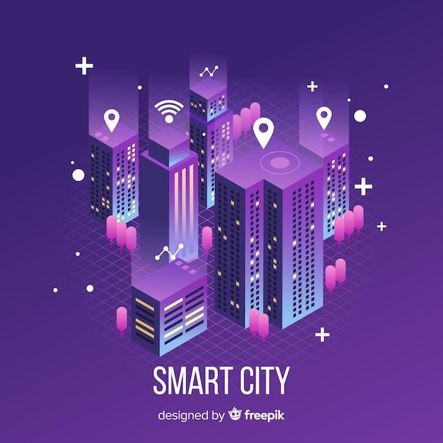 Izometryczne inteligentne miasto Darmowych Wektorów