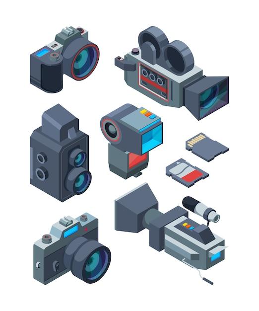 Izometryczne Kamery Wideo I Fotograficzne. Obrazy Wektorowe Różnych Urządzeń Do Studia Wideo I Fotograficznego Premium Wektorów
