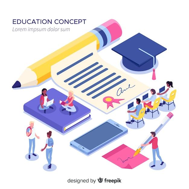 Izometryczne koncepcja uniwersytetu z elementami edukacji Darmowych Wektorów