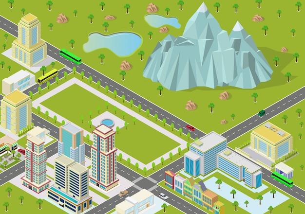 Izometryczne Krajobrazy Z Zabudowaniami Miasta I Górami Premium Wektorów