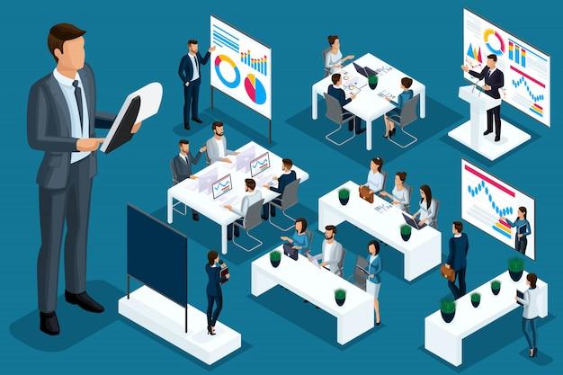 Izometryczne Kreskówka Ludzie, Biznesmeni I Panie Biznesu Różne Sytuacje, Duży Człowiek I Mini Koncepcja Coachingu Dla Ilustracji Premium Wektorów