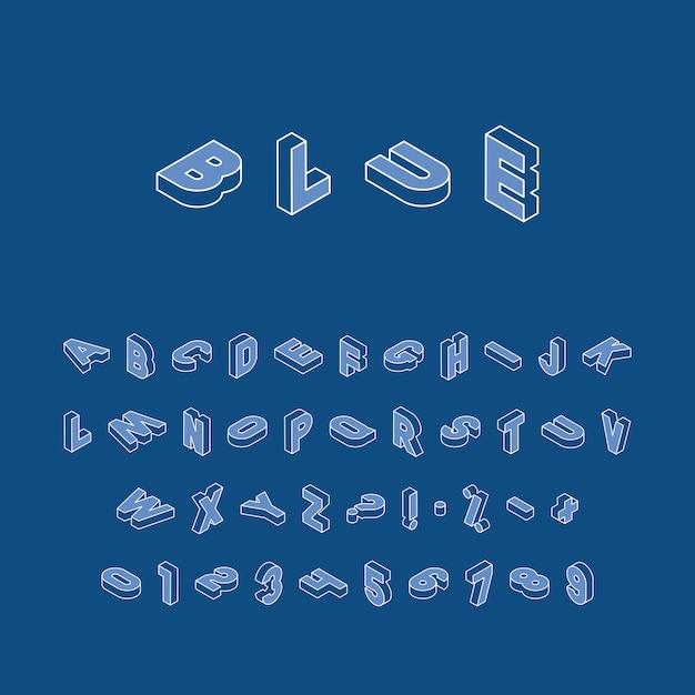 Izometryczne Litery, Cyfry I Znaki W Różnych Kierunkach Z Białym Cienkim Konturem Na Klasycznym Niebieskim Premium Wektorów