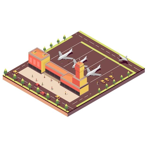 Izometryczne lotnisko Premium Wektorów