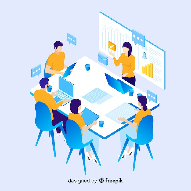Izometryczne ludzi biznesu w spotkaniu Darmowych Wektorów