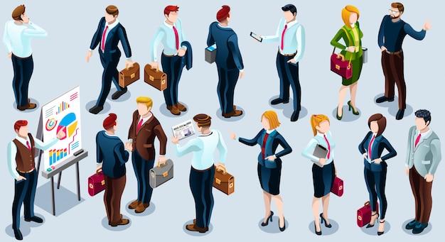 Izometryczne Ludzi Modny Biznes 3d Zestaw Ilustracji Premium Wektorów