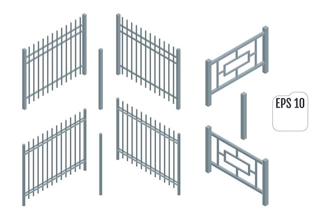 Izometryczne Metalowe Sekcje Ogrodzenia. Konstruktor Wektor Ogrodzenia. Premium Wektorów
