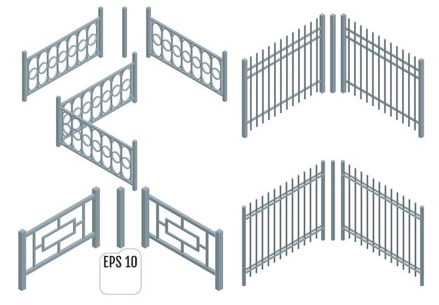 Izometryczne Metalowe Sekcje Ogrodzenia. Premium Wektorów