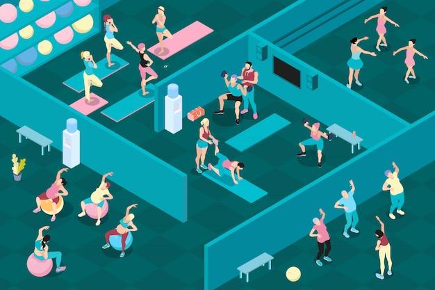 Izometryczne Mężczyzn I Kobiet Na Różnych Zajęciach Sportowych W Siłowni Darmowych Wektorów