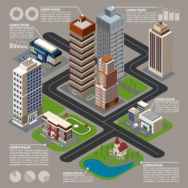 Izometryczne miasto infografiki Darmowych Wektorów