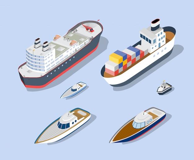 Izometryczne modele statków Premium Wektorów