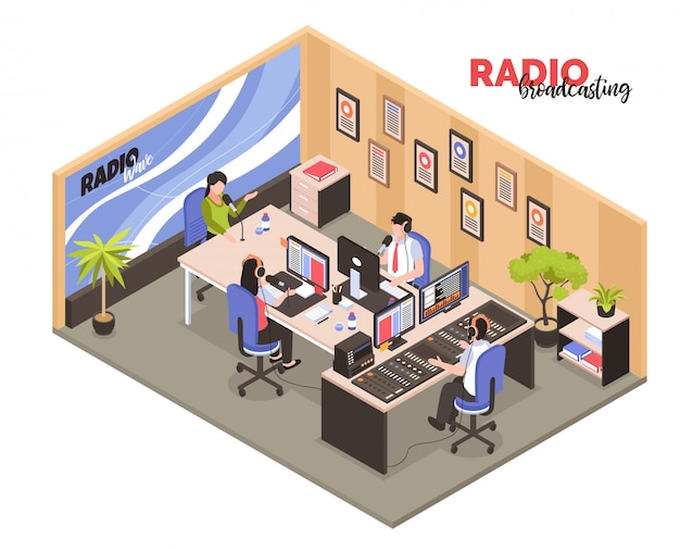 Izometryczne Nadawanie Radiowe Z Pracownikami We Wnętrzu Pracy Uczestniczyło W Nagrywaniu Programów Radiowych Darmowych Wektorów