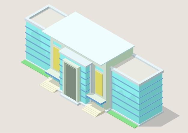 Izometryczne Nowoczesne Centrum Biznesowe. Budynek Biurowy Na Białym Tle Premium Wektorów