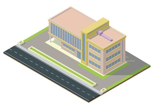 Izometryczne Nowoczesne Centrum Biznesowe Z Autostradą. Budynek Biurowy Na Białym Tle Premium Wektorów