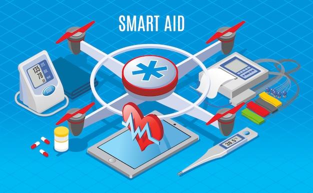 Izometryczne Nowoczesne Gadżety W Koncepcji Medycyny Z Użyciem Drona Do Transportu Sprzętu Medycznego Darmowych Wektorów