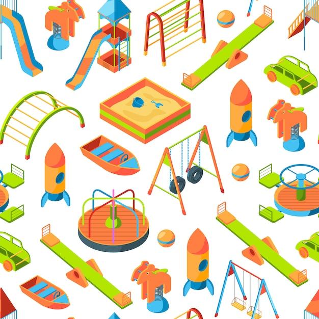Izometryczne obiekty lub wzór placu zabaw Premium Wektorów