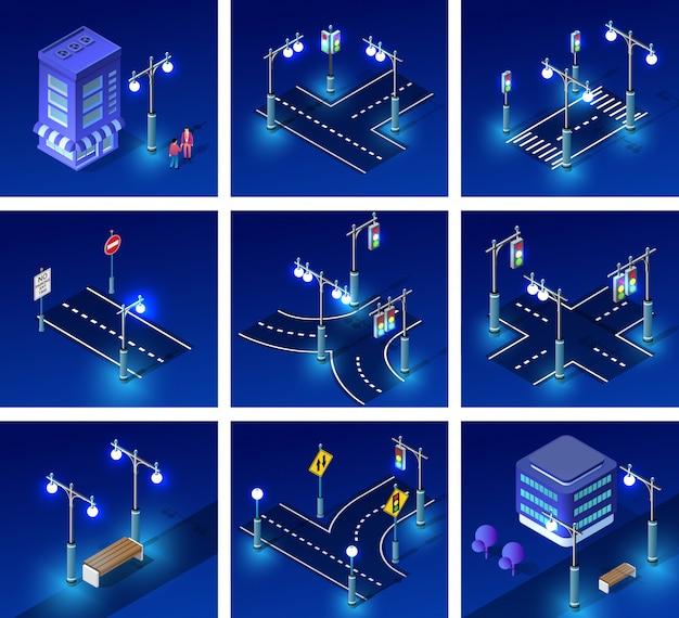 Izometryczne oświetlenie nocne Premium Wektorów