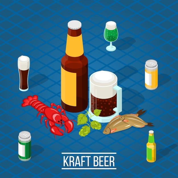 Izometryczne piwo Darmowych Wektorów