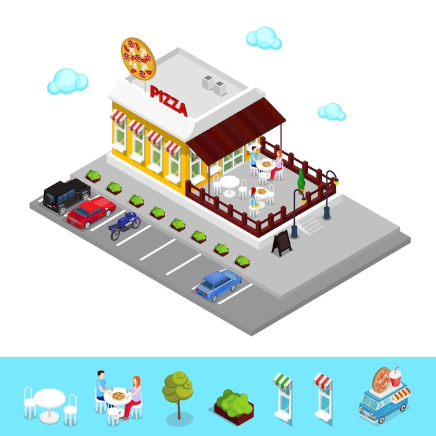 Izometryczne Pizzeria. Nowoczesna Restauracja Ze Strefą Parkingową. Ludzie W Pizzerii. Premium Wektorów