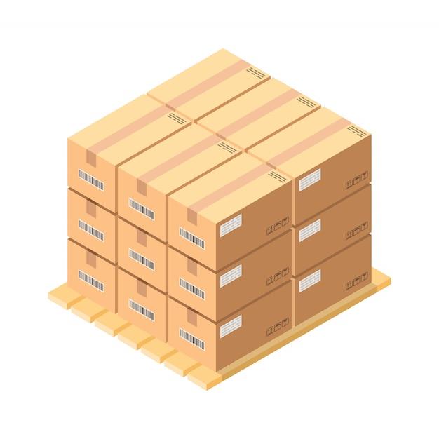 Izometryczne Pudełka Kartonowe Na Drewnianej Palecie Premium Wektorów