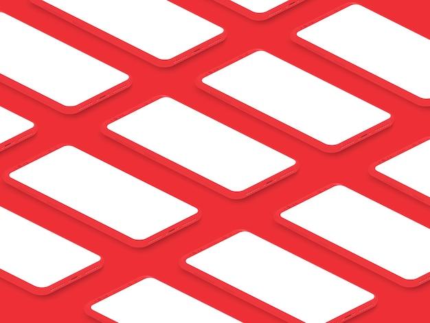 Izometryczne Realistyczne Czerwone Błyszczące Smartfony Z Pustą Siatką Ekranu Premium Wektorów