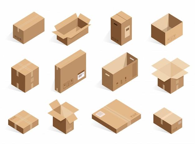 Izometryczne Realistyczne Kartonowe Pudełka Dostawcze. Otwarte, Zamknięte Pudełko Logistyczne Na Białym Tle. Premium Wektorów