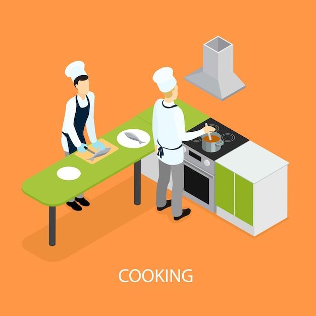 Izometryczne Restauracji Ludzie Gotowanie Darmowych Wektorów