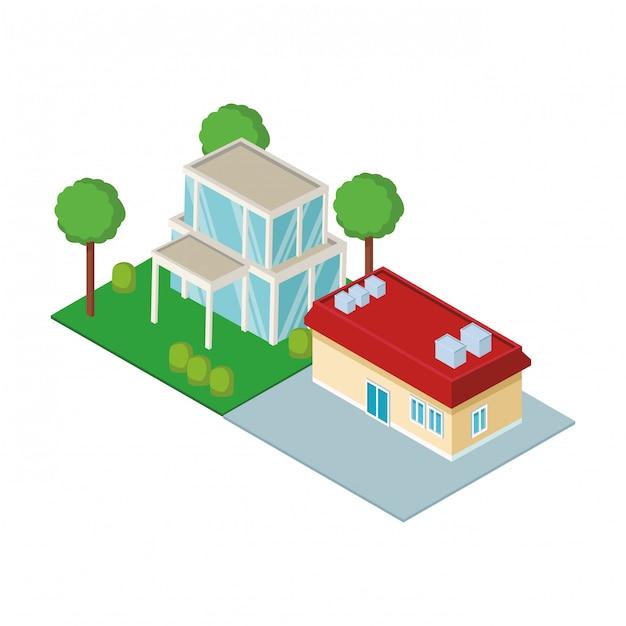 Izometryczne rezydencje mieszkalne Premium Wektorów