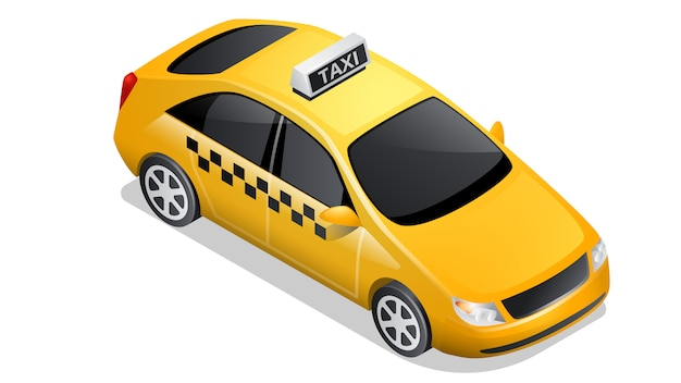 Izometryczne Samochód Ikona Kratkę Taksówki Na Białym Tle Darmowych Wektorów