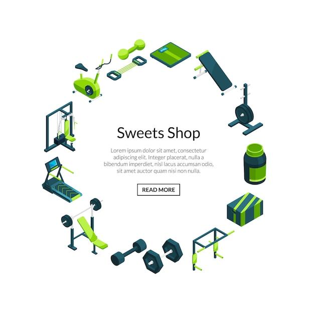 Izometryczne siłownia wektor. przedmioty sportowe i fitness na zaokrąglonej ramie z szablonem tekstowym Premium Wektorów