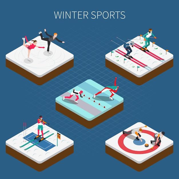 Izometryczne Sporty Zimowe Darmowych Wektorów
