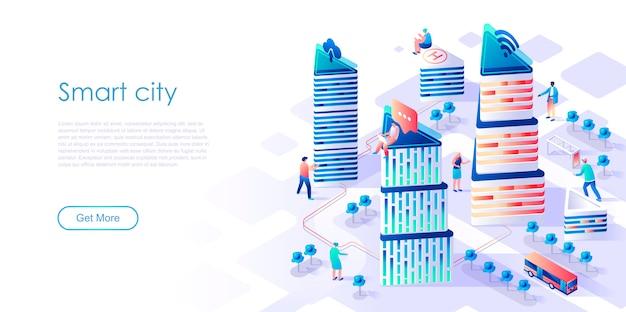 Izometryczne strony docelowej inteligentne miasto lub inteligentne płaskie koncepcja Premium Wektorów