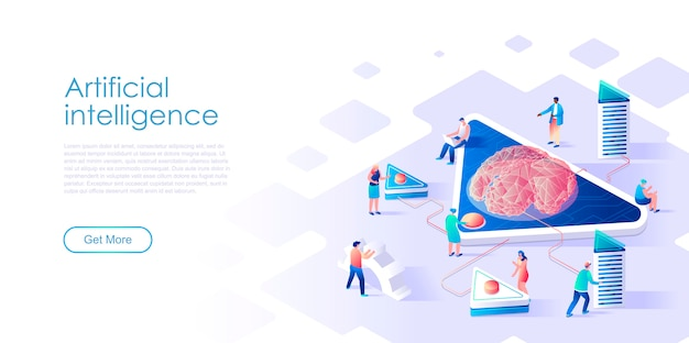 Izometryczne Strony Docelowej Sztucznej Inteligencji Płaskie Koncepcja Premium Wektorów