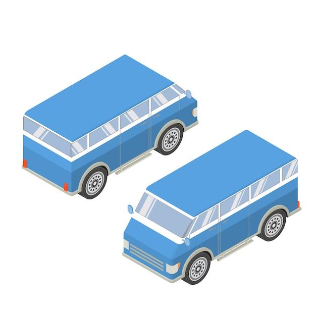 Izometryczne turystyczne minibusy. Premium Wektorów