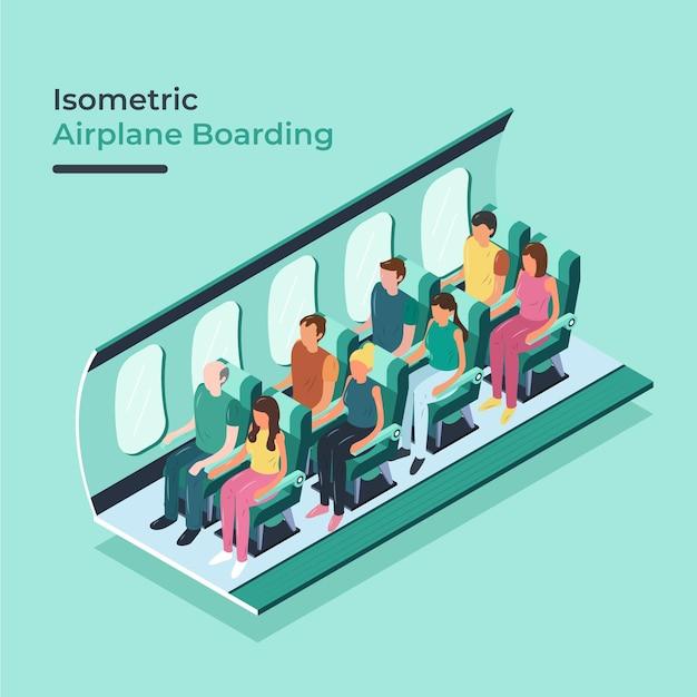 Izometryczne Wejście Na Pokład Samolotu Darmowych Wektorów