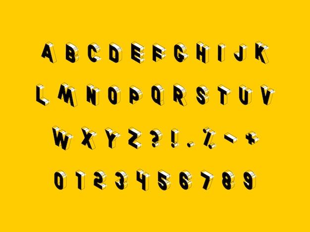 Izometryczne Wielkie Litery, Cyfry I Znaki Na żółto Premium Wektorów