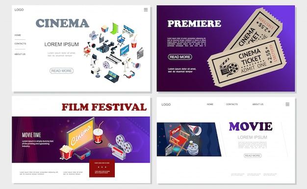 Izometryczne Witryny Kinowe Z Kamerami Filmowymi Hromakey Klisza Reżyser Krzesło Megafon Klaps Projektory Rolka Filmu Bilety Soda Popcorn Darmowych Wektorów