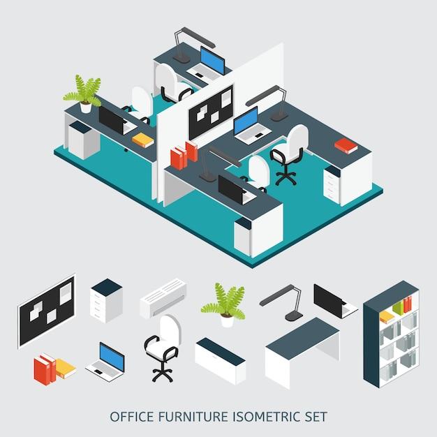 Izometryczne Wnętrze Biura Pracy Kolorowa Kompozycja Z Odnowionym Biurem Darmowych Wektorów