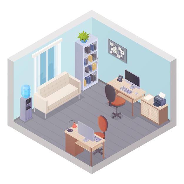 Izometryczne Wnętrze Biura Z Dwoma Miejscami Pracy Szafka Na Rzeczy Chłodnik Z Drukarką I Sofą Dla V Darmowych Wektorów