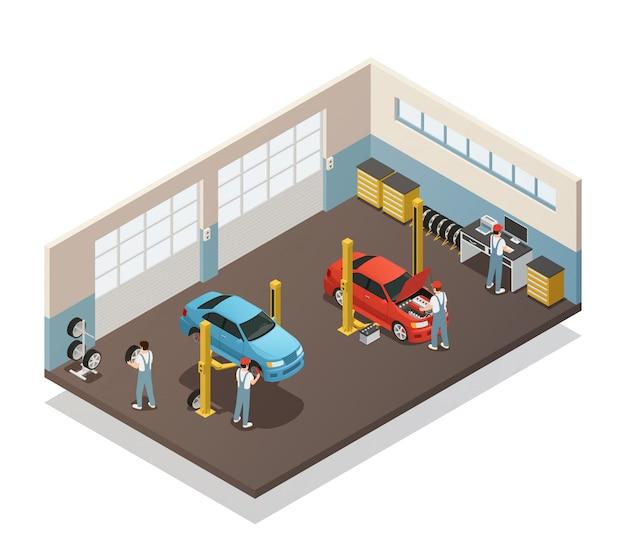 Izometryczne Wnętrze Serwisu Samochodowego Darmowych Wektorów