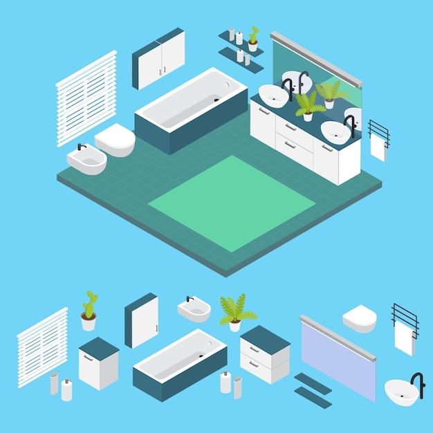 Izometryczne Wnętrze Układ łazienki Z Izolowanymi Kolorowymi Elementami I Połączoną Kompozycją Darmowych Wektorów