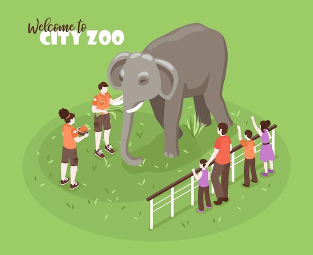 Izometryczne Zoo Pracowników Kolor Tła Z Edytowalnego Tekstu I Ludzkie Postacie Z Dziećmi I Duży Słoń Darmowych Wektorów