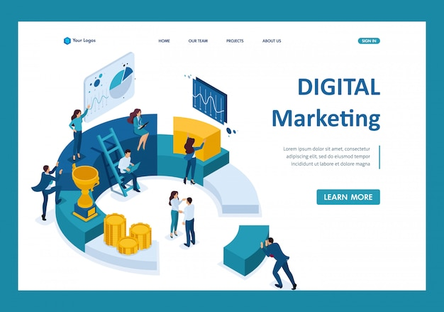 Izometryczni Biznesmeni Sporządzają Raport Na Temat Marketingu Cyfrowego Premium Wektorów