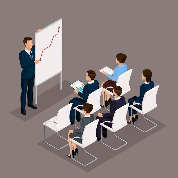 Izometryczni ludzie, biznesmeni 3d biznesowa kobieta. edukacja, szkolenie biznesowe. pracujący w biurze, pracownicy biurowi na ciemnym tle Premium Wektorów