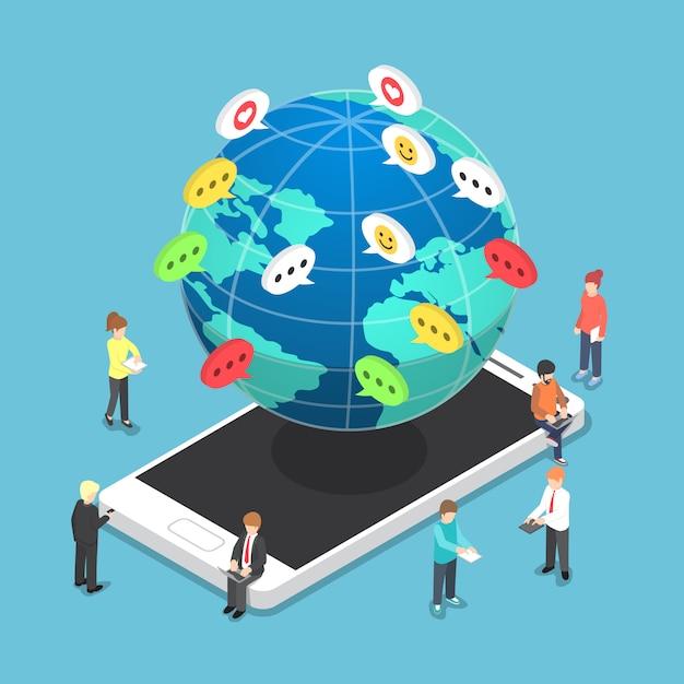 Izometryczni Ludzie Rozmawiają Z Innymi Za Pośrednictwem Urządzeń Elektronicznych Premium Wektorów