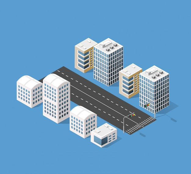 Izometryczny 3d Miasto Trójwymiarowy Premium Wektorów