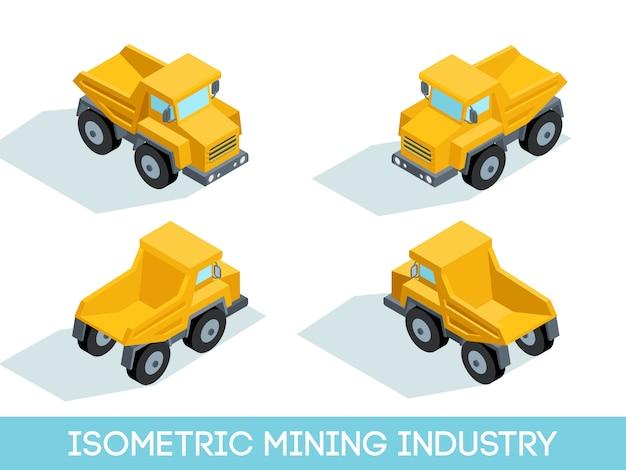 Izometryczny 3d Przemysł Wydobywczy, Sprzęt Wydobywczy I Pojazdy Na Białym Tle Ilustracji Wektorowych Premium Wektorów