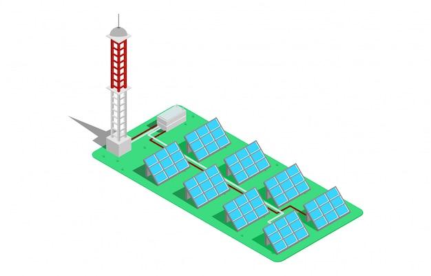 Izometryczny 3d wektor ilustracja wieża Premium Wektorów