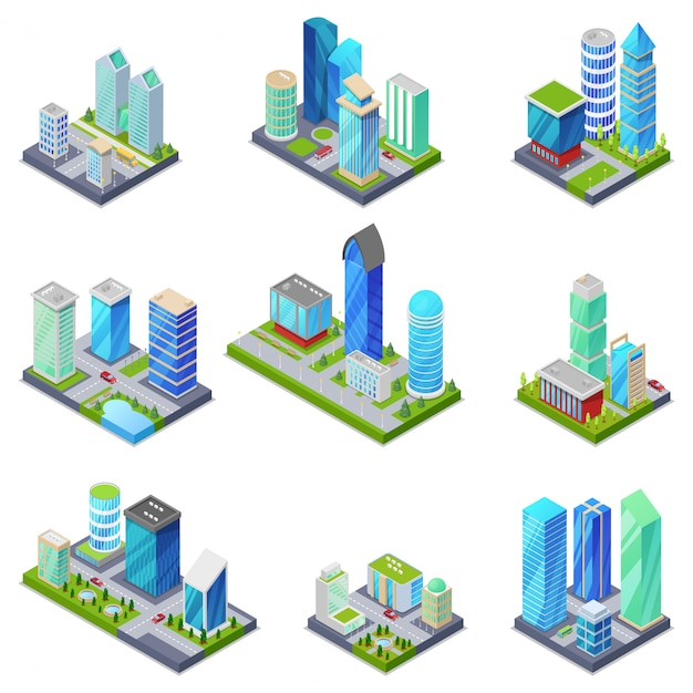 Izometryczny 3d zestaw letnich dzielnic miasta Premium Wektorów